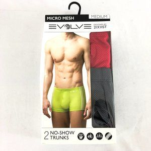 Evolve 2(X)is Mens No-Show Trunks 2 Pairs Mesh M